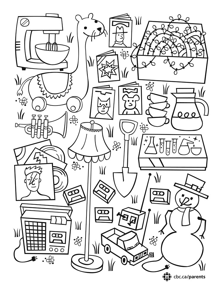 750x971 Garage Sale Colouring Printable Take A Break And Colour Together