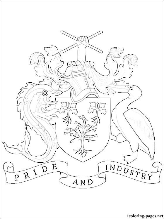 560x750 Barbados Coat Of Arms Coloring Page Coloring Pages