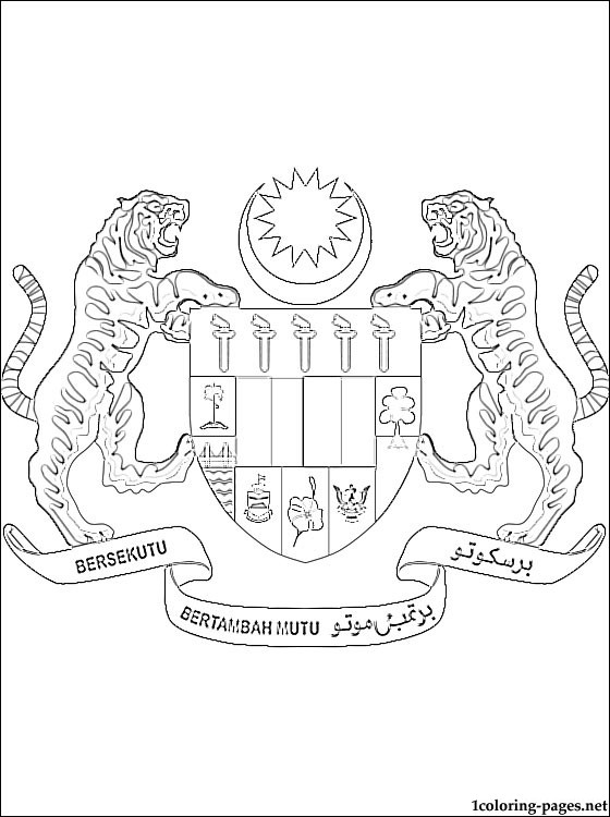 560x750 Malaysia Coat Of Arms Coloring Page Coloring Pages