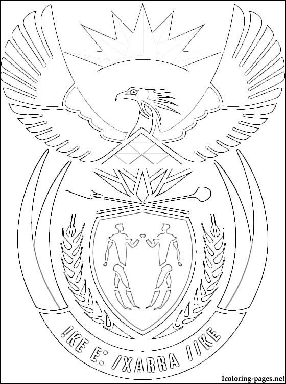 560x750 South Africa Coat Of Arms Coloring Page Coloring Pages