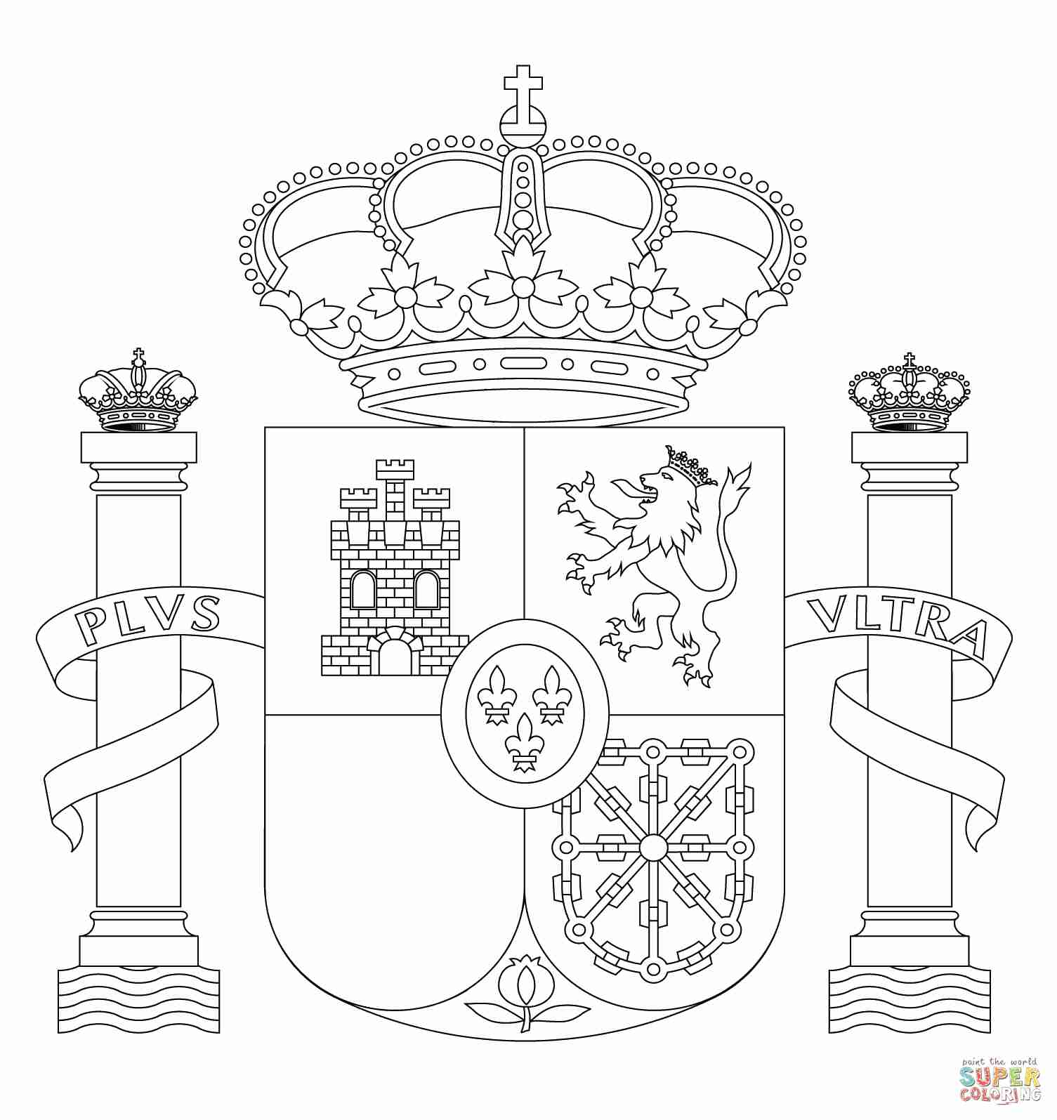1505x1595 Spain Coat Of Arms Coloring Page Free Printable Pages Showy Flag