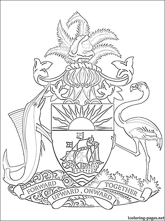 560x750 The Bahamas Coat Of Arms Coloring Page Coloring Pages