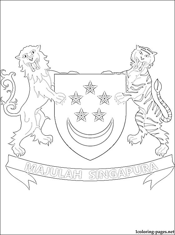 560x750 Coat Of Arms Coloring Pages Free Singapore Coat Of Arms Coloring