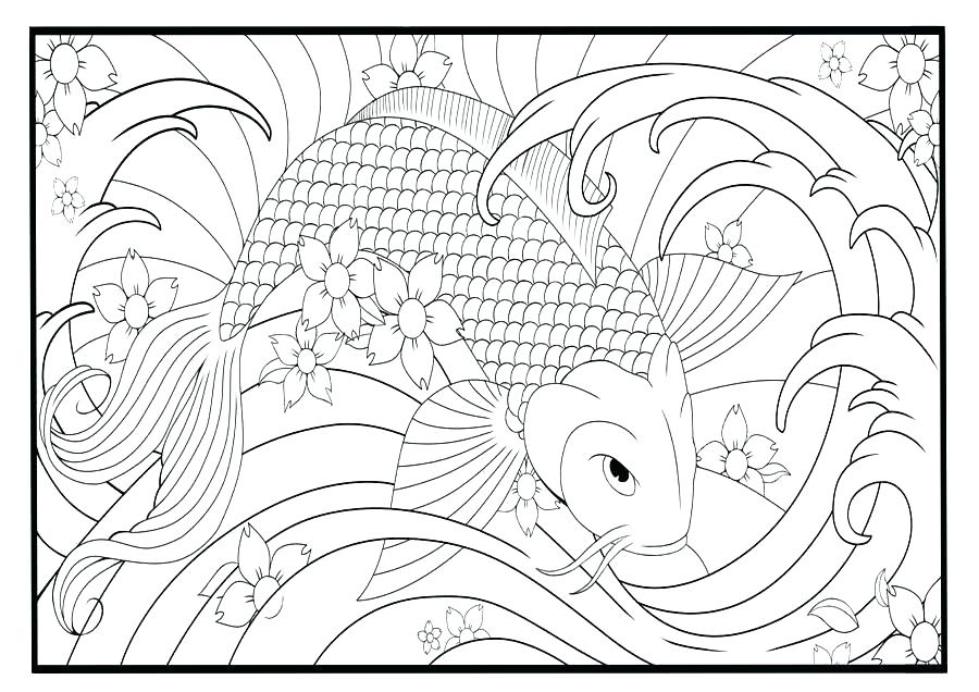900x636 Koi Fish Coloring Pages Fish Coloring Page Fish Digital Art Fish