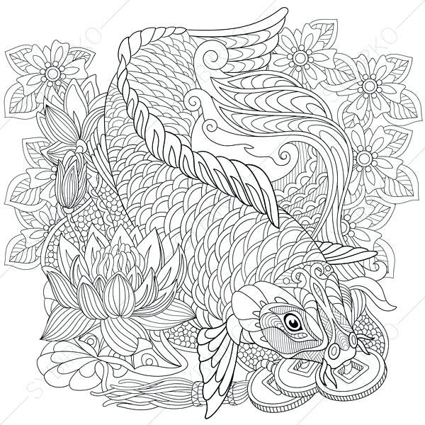 600x600 Koi Fish Coloring Pages Zoom Koi Fish Coloring Pages For Adults