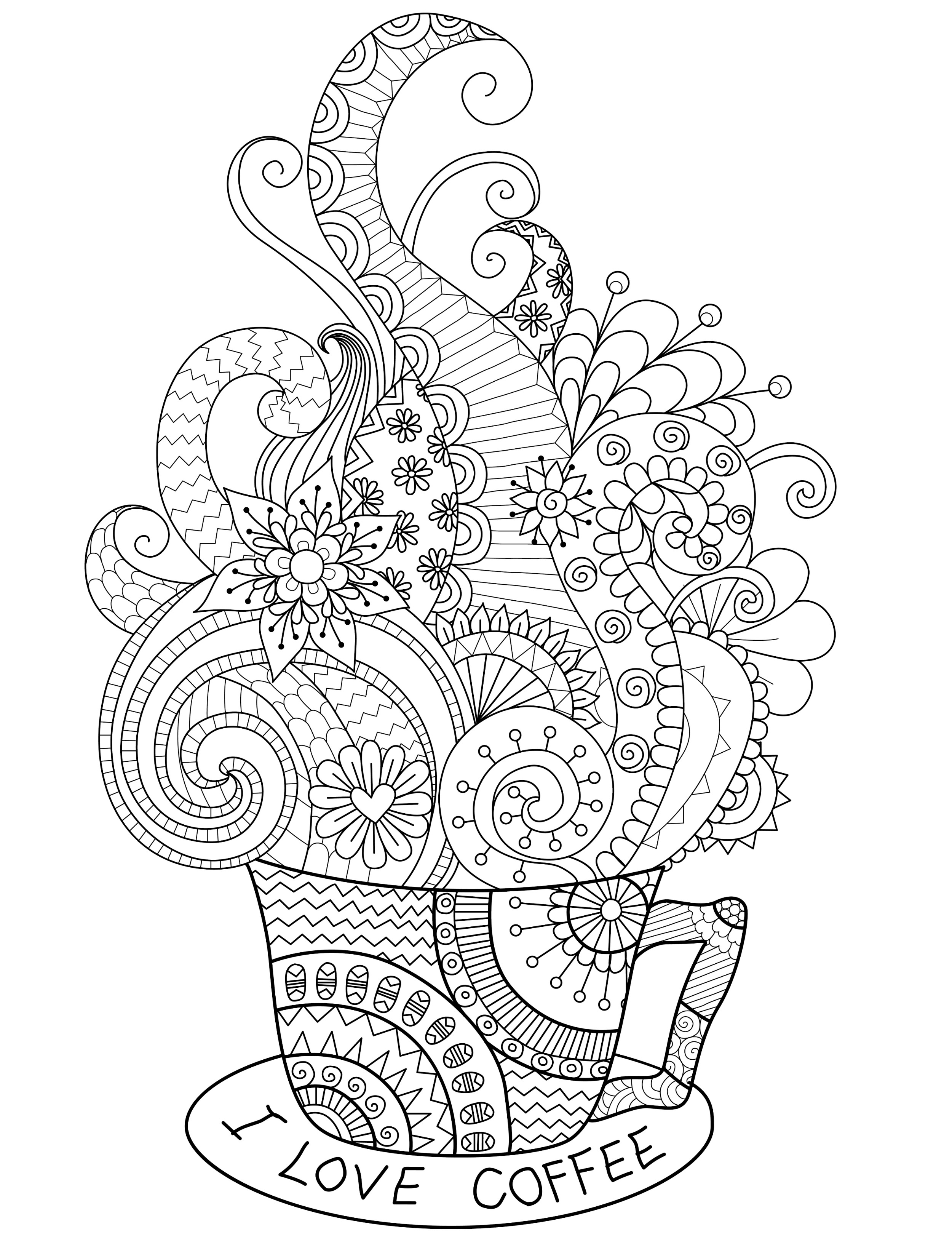 Coffee Coloring Pages Printable