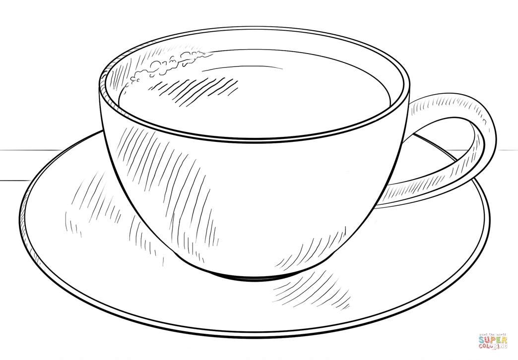 1044x726 Cup Of Coffee Coloring Page Cup Of Coffee Coloring Page Free