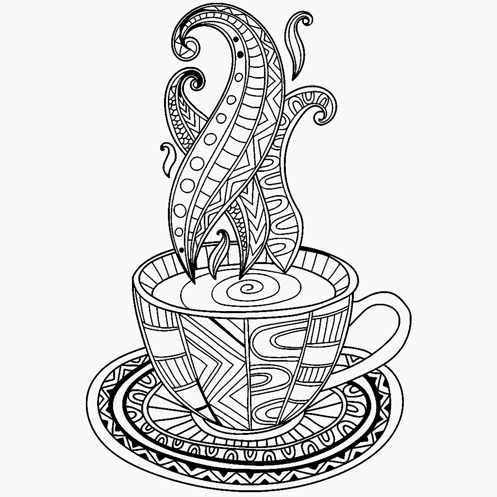 1024x1024 Coffee Cup Coloring Page Coffee + Tea Coloring Pages For Adults