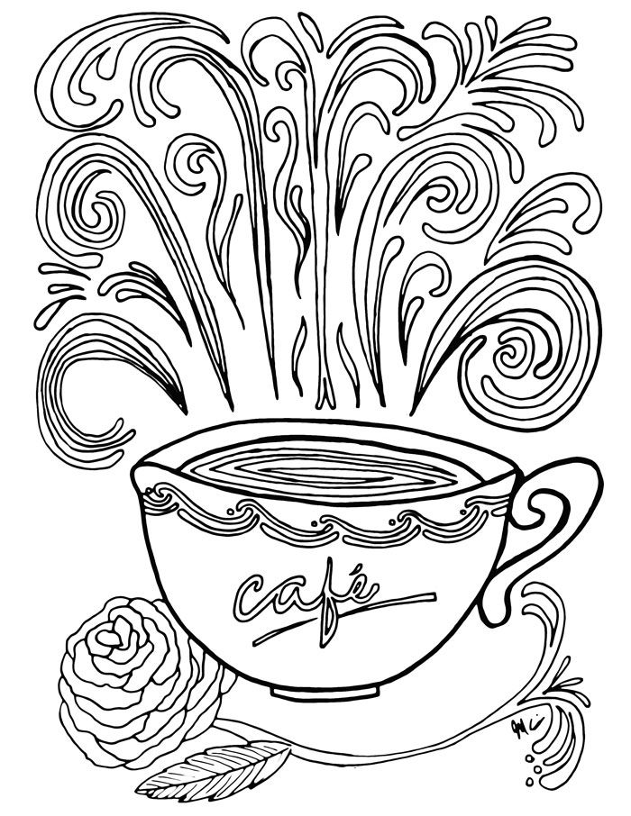 700x906 Complex Coloring Pages A Cup Of Coffee