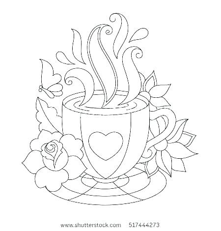 450x470 Tea Cup Coloring Page Printable Tea Cups Coloring Pages Awesome