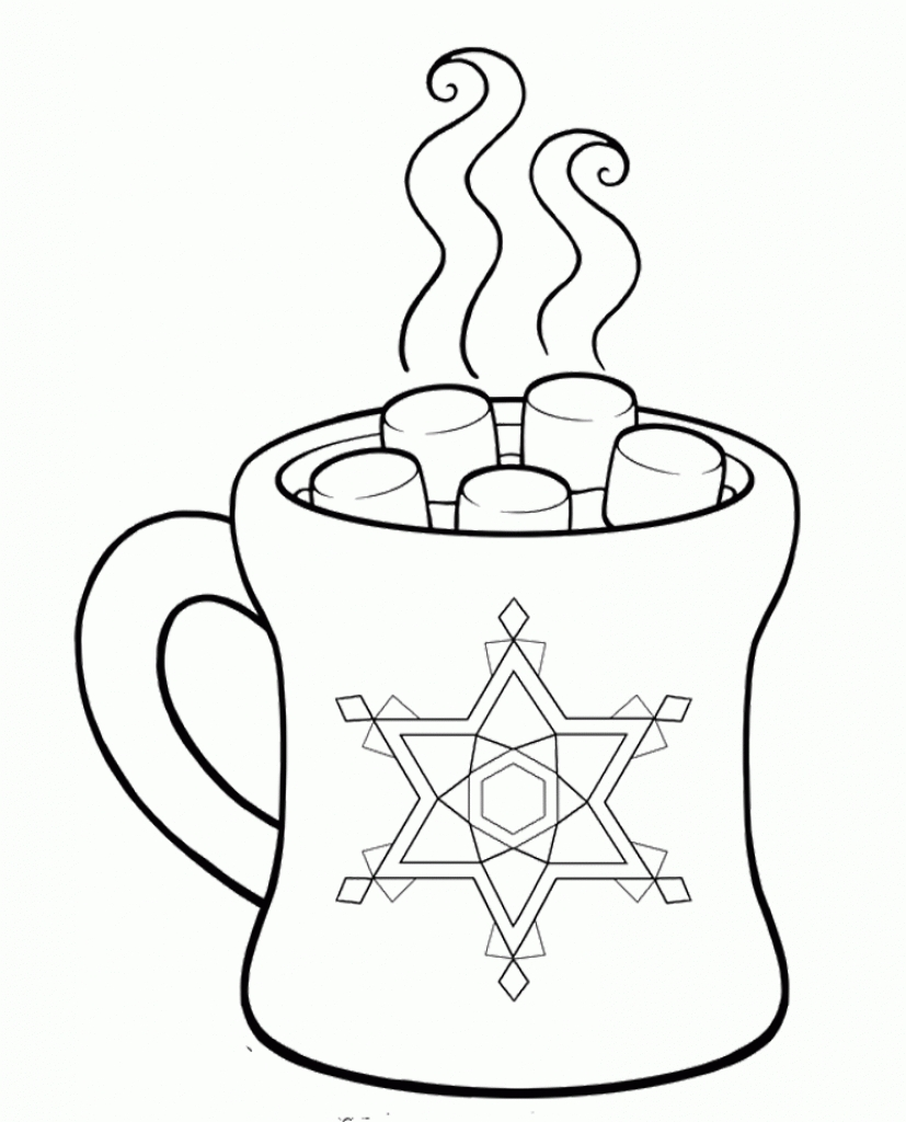 827x1024 Hot Chocolate Mug Coloring Page