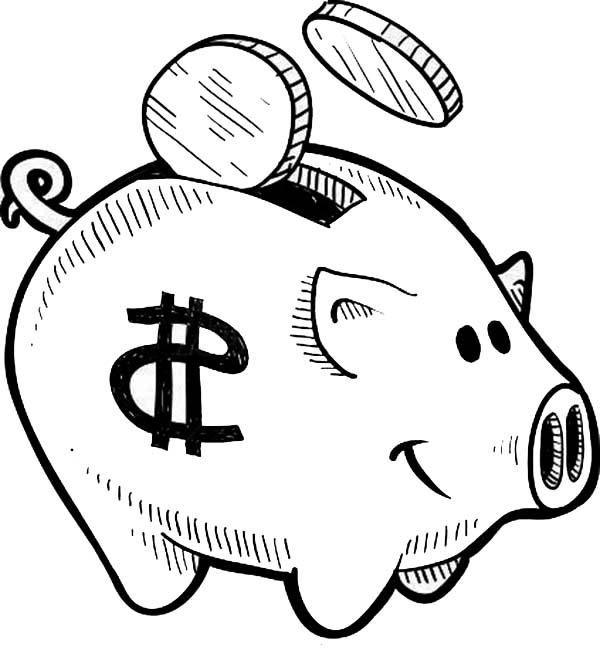600x667 Put Your Coin Piggy Bank Coloring Page Color Luna