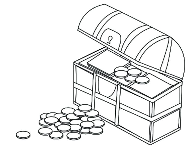 800x597 Coin Coloring Page Treasure Chest Filled With Gold Coin Gold Coin