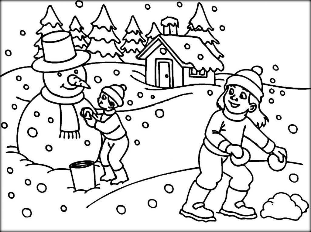 1024x764 Cool Winter Coloring Pages For Kindergarten