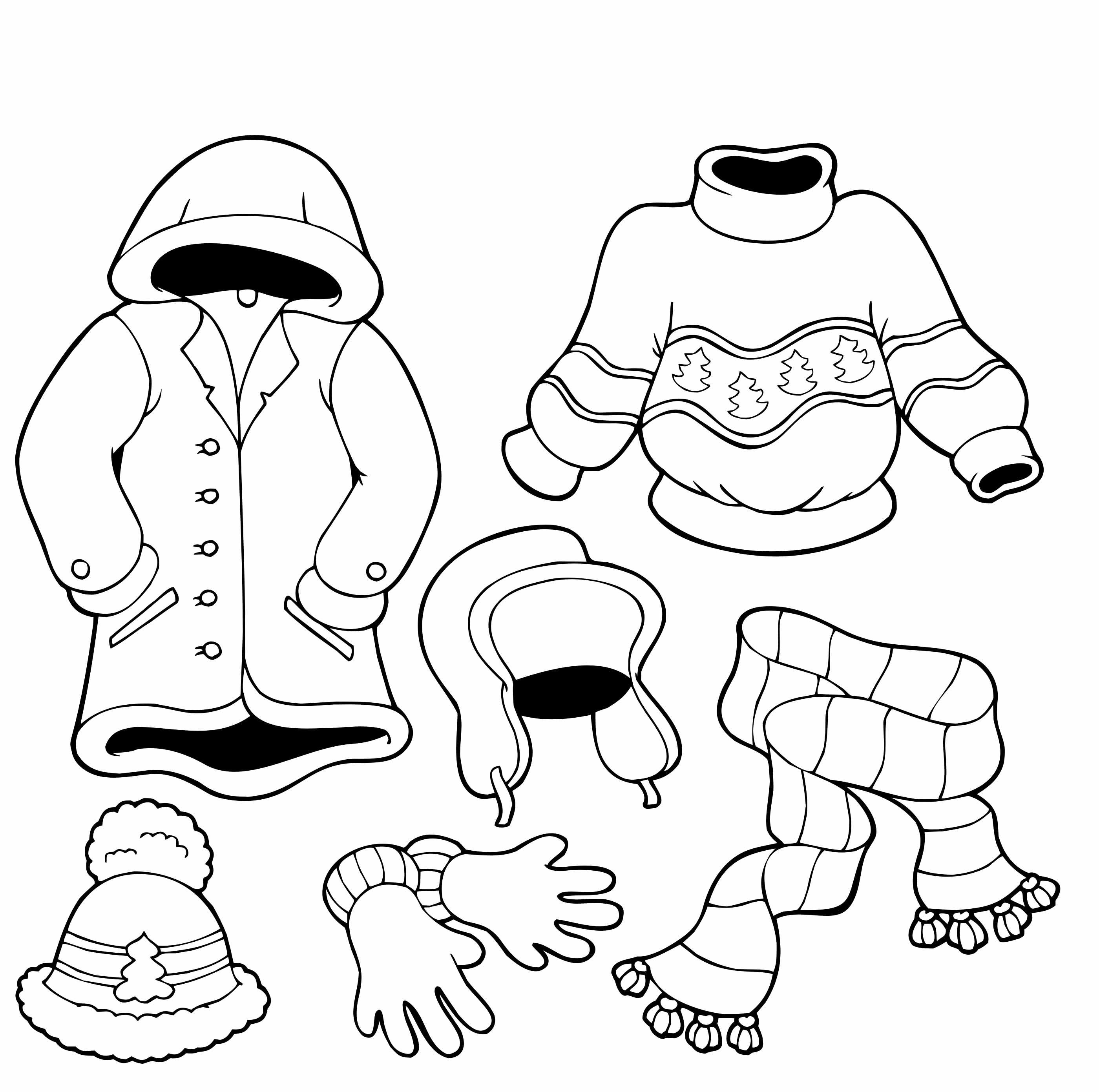 2800x2783 Clothes For The Cold Winter Coloring Pages Preschool