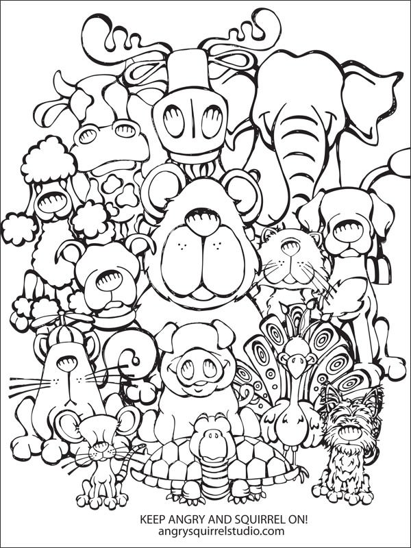 600x800 Animal Collage Coloring Pages