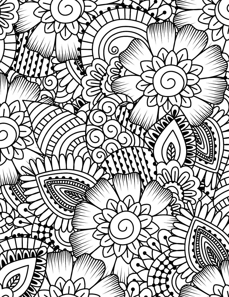 791x1024 Free Printable Coloring Page Flower Collage
