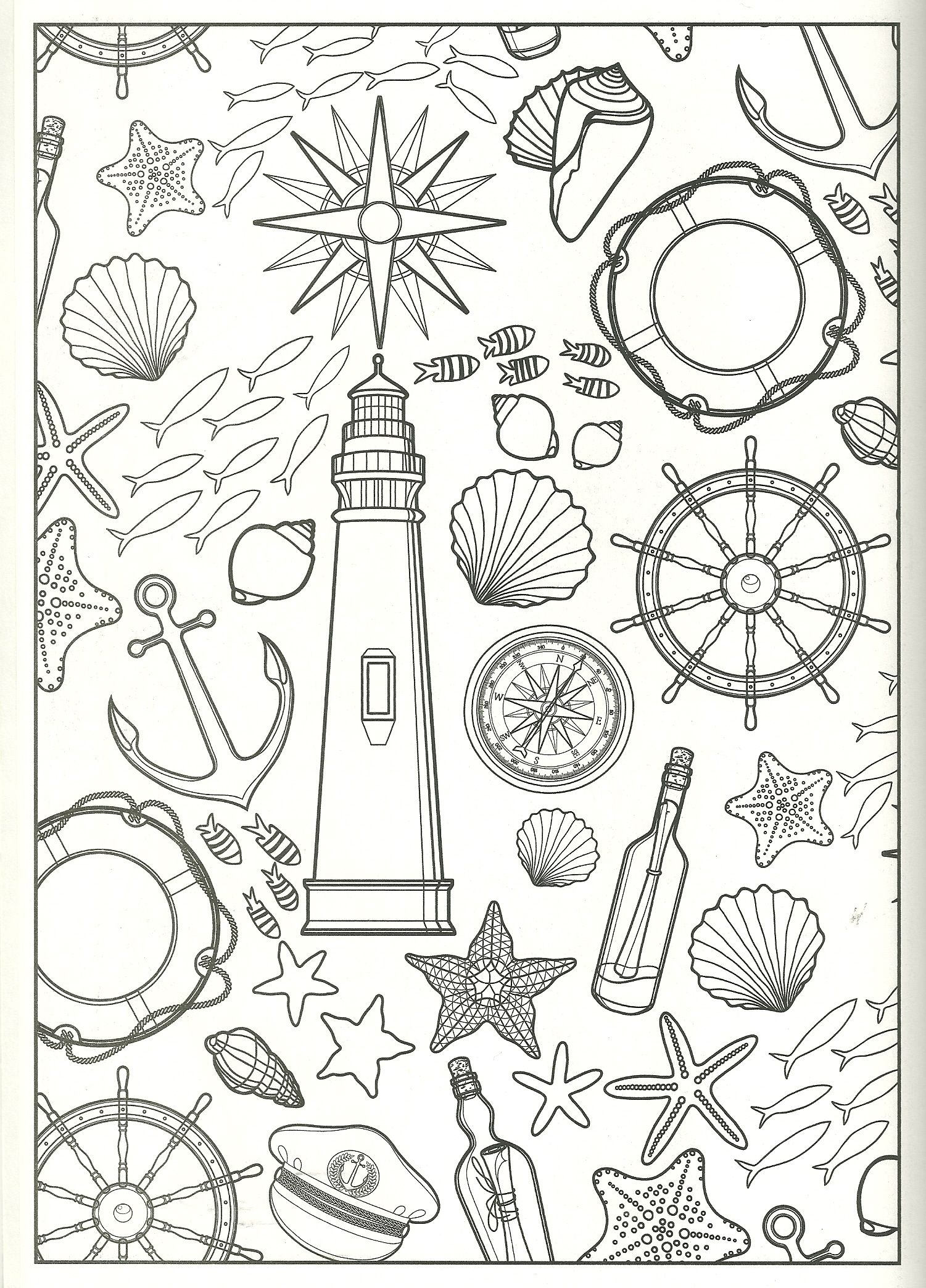 1501x2088 Nautical Collage Coloring Page My Coloring Pages