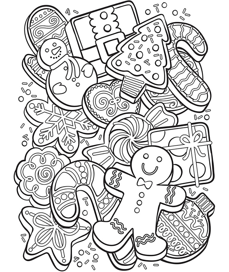 768x912 Christmas Cookie Collage Coloring Page