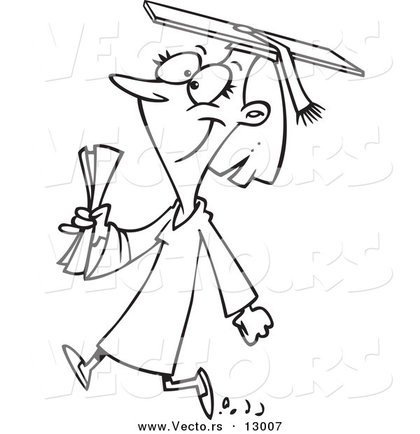 600x620 Vector Of A Happy Female Cartoon College Graduate Walking