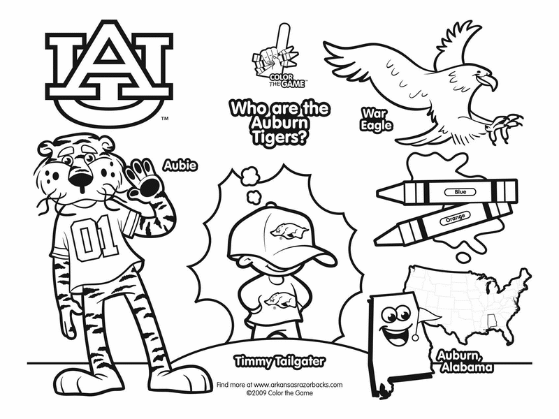 800x600 Auburn Tigers College Football Coloring Pages