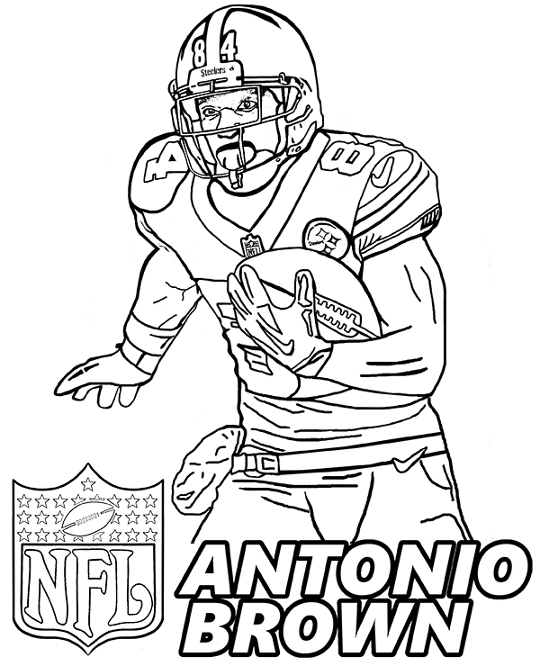 600x740 Antonio Brown Top Nfl Player Portrait To Color For Free