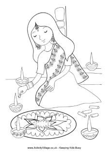 225x320 Loads Diwali Colouring Pages, Use To Help Tell The Story