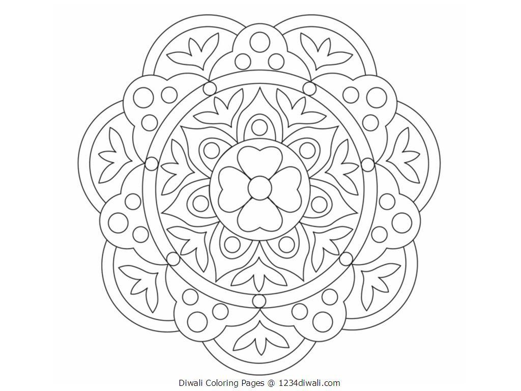 1024x768 Diwali Rangoli Coloring Pages Printables Color Rama