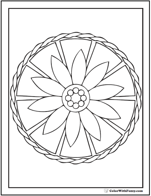 590x762 Geometric Coloring Pages For Kids Daisy Wheel
