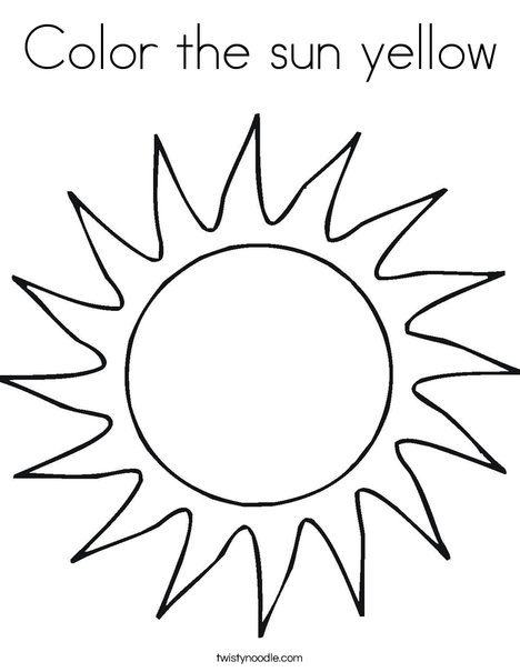 468x605 Color The Sun Yellow Coloring Page