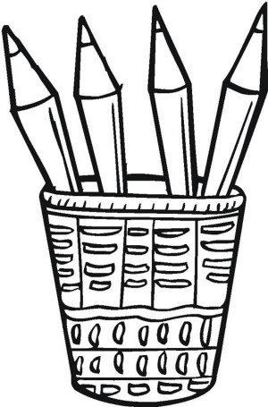 300x455 Four Colored Pencils In The Bucket Coloring Page