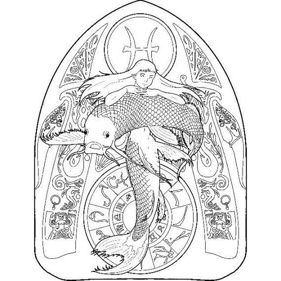 570x571 Mermaid Coloring Page