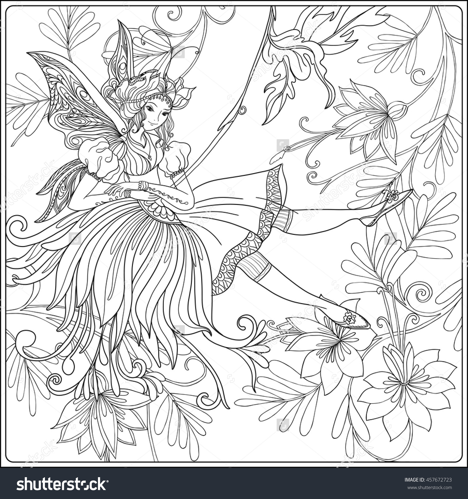 1500x1600 Fairy With Butterfly Wings On Swing On Medieval Floral Pattern
