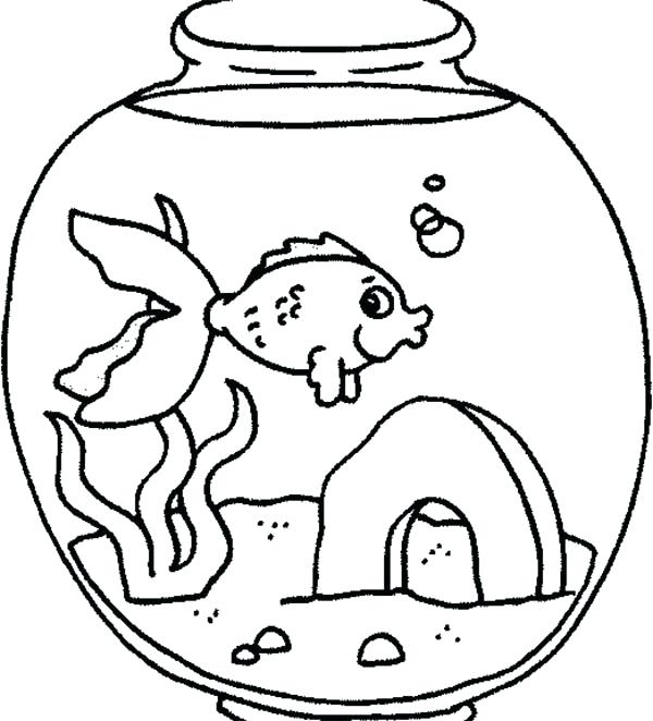 600x662 Fish Tank Coloring Page A Fish Feeling Lonely In Fish Tank