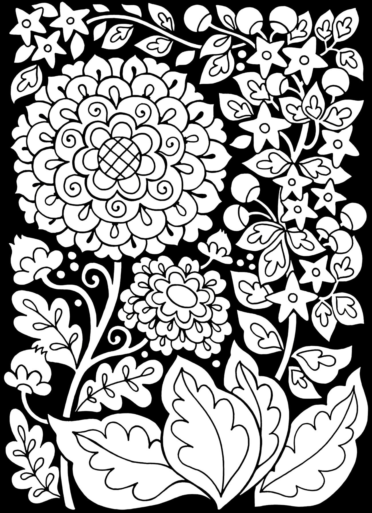 1300x1794 To Print This Free Coloring Page Adult Flowers Black