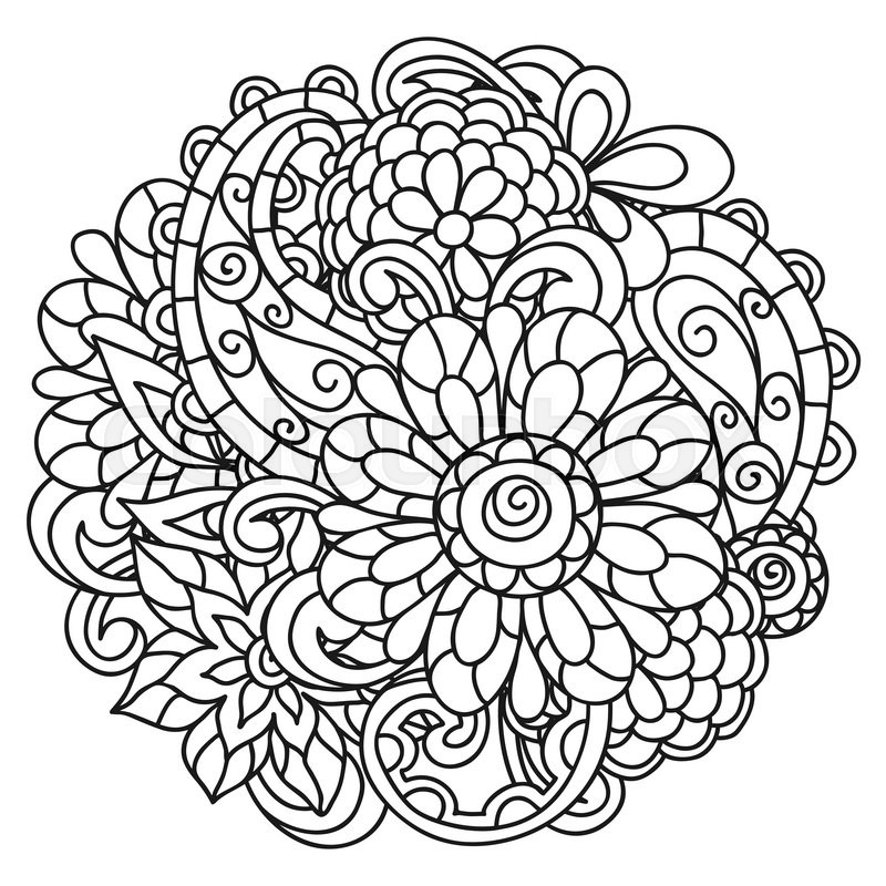 800x800 Background With Line Flowers For Adult Coloring Page Printing