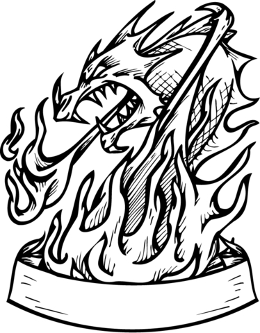 374x480 Banner Coloring Pages Dragon In Flames With Banner Coloring Page