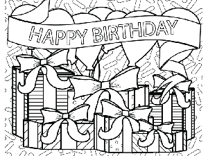 300x225 Birthday Presents Balloons Banner Coloring Page