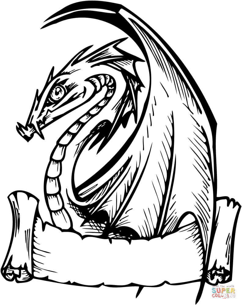 792x996 Elegant Dragon With Banner For Words Coloring Page With Dragons