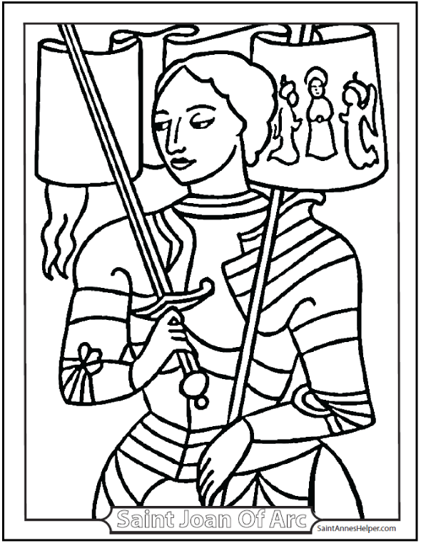590x762 Saint Joan Of Arc Coloring Page Banners
