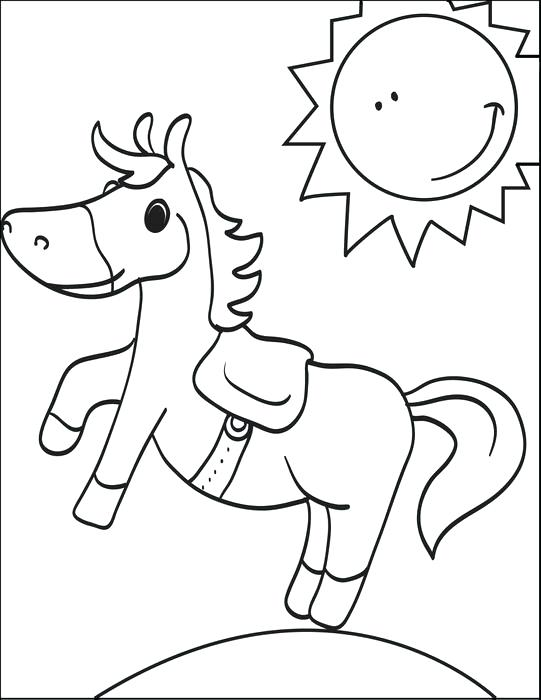 541x700 Cartoon Horse Coloring Page Border Printable For Kids Free Race