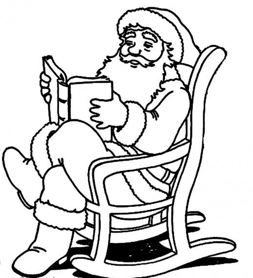 518x569 Santa Claus Reading A Book On A Rocking Chair Christmas Coloring