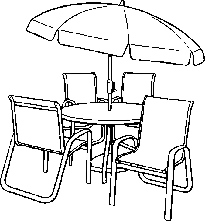675x726 Umbrella Table Chairs Coloring Page