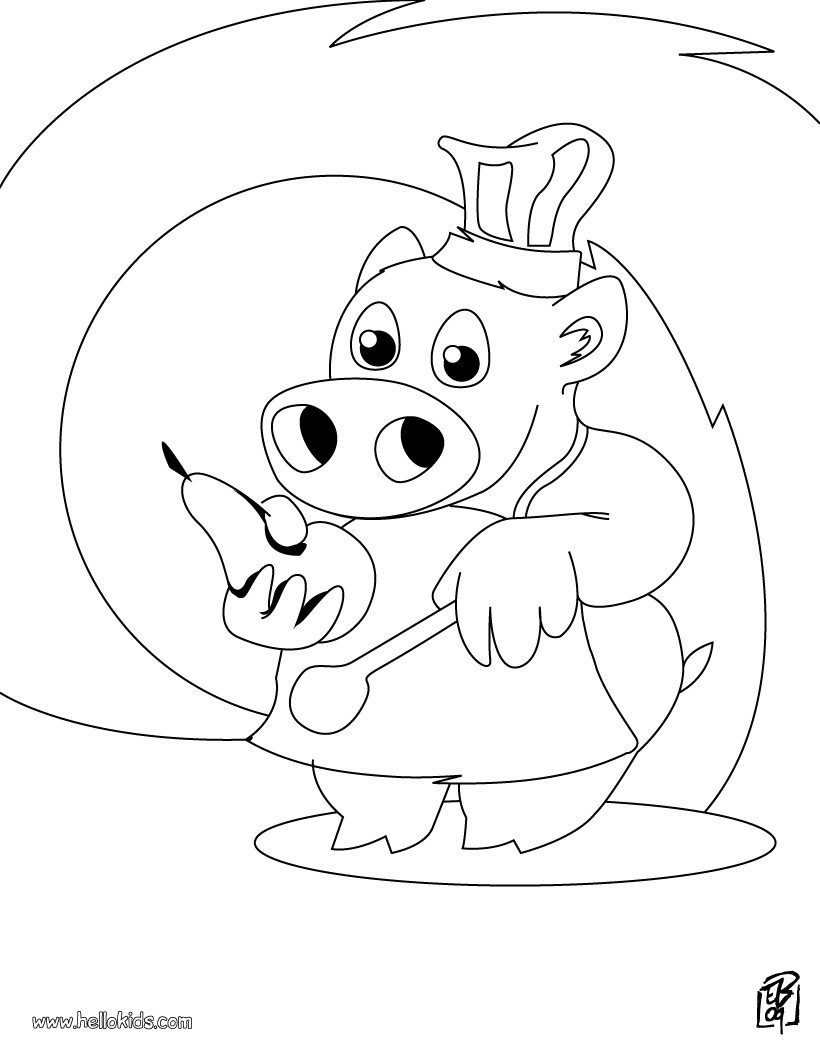 820x1060 Pig, The Little Chef Coloring Pages