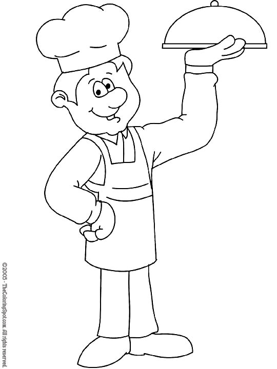 540x720 Printable Chef Coloring Page