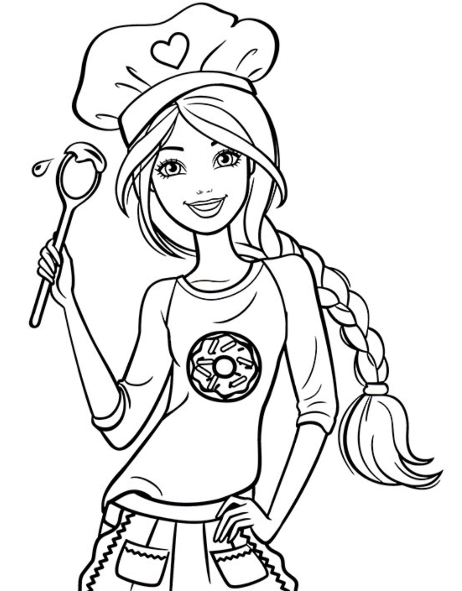 1533x1958 Chef Barbie Coloring Page