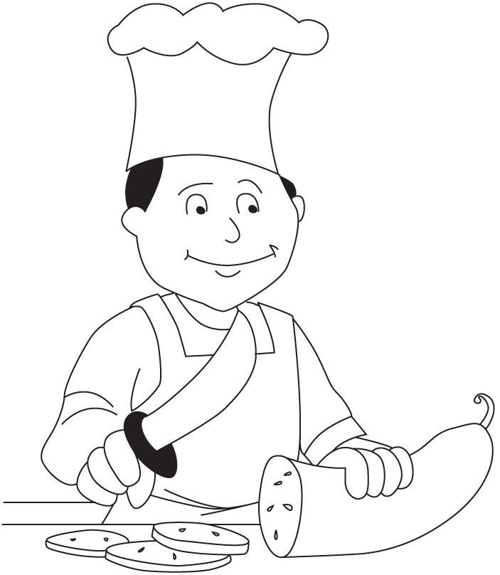 703x808 Chef Coloring Page