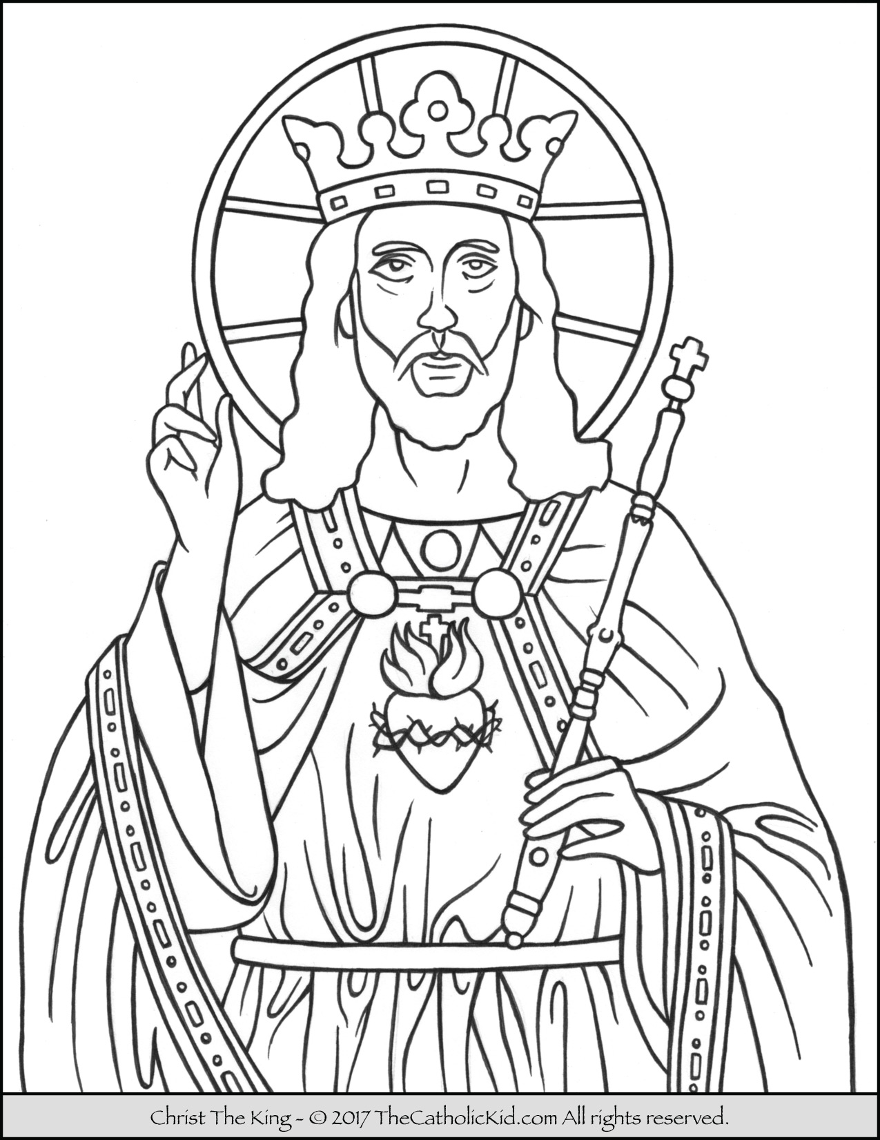 1275x1650 Christ The King Coloring Page