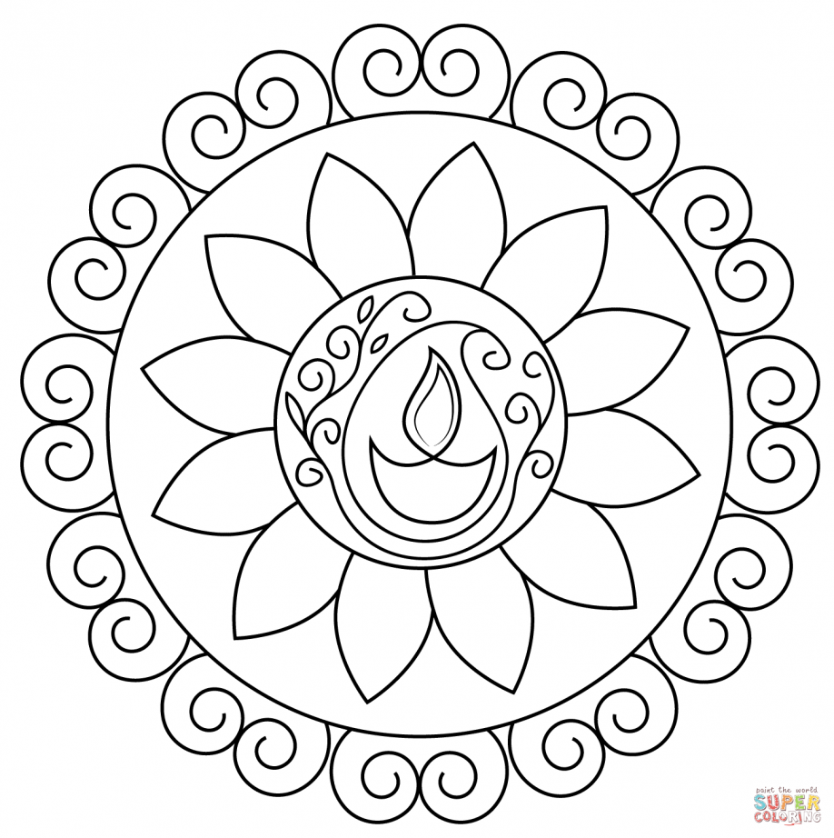 918x922 Diwali Coloring Pages Lamp Happy