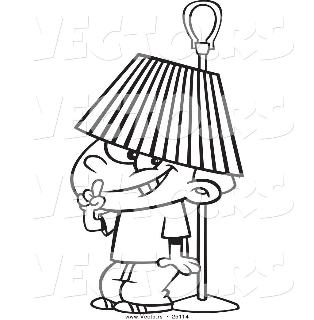 1024x1044 Vector Of A Cartoon Boy Hiding Under A Lamp Shade